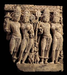 A Buff Sandstone Frieze of Vishnu, Lakshmi, Shiva and Parvati   India, Uttar Pradesh, 10th Century