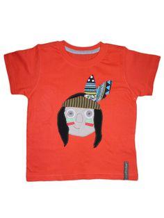 Camiseta personalizada a mano con telas, fieltro y botones. Indio, Indi, Indien