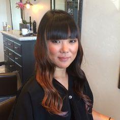 Asian hair. Blunt bangs. Waves.