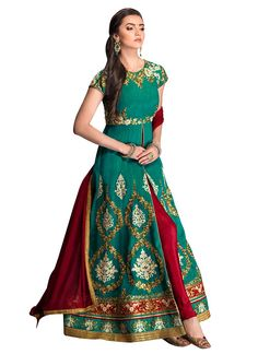 Buy Green Silk Anarkali Suit, anarkali-suit Online Shopping, SLSRC1707