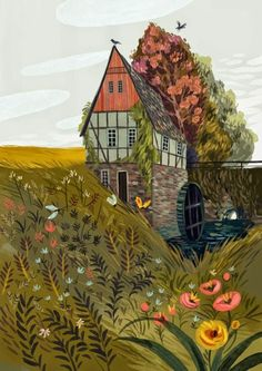 Demidova) An illustration of a beautiful pastoral countryside home surrrounding by fauna, flowers and fields (by Olga Demidova)Olga Olga or Olha may refer to: Art Inspo, Kunst Inspo, Art And Illustration, Portrait Illustration, Art Populaire, Guache, Art Design, Oeuvre D'art, Art Reference