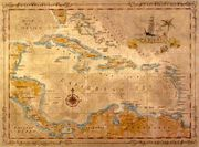 Antique Style Caribbean Map for the entry