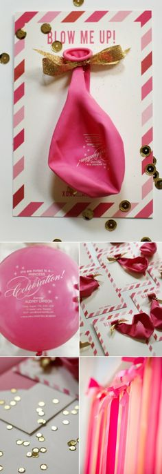 """Party invite: printed on a balloon- says """"blow me up"""". Girl Obsessed blog post"""