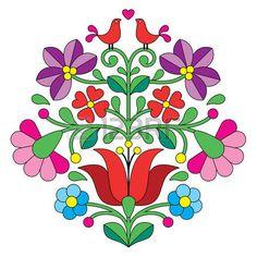 Kalocsai Stickerei ungarische Volksblumenmuster mit V geln Lizenzfreie Bilder