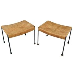 Pair of 1950s Iron and Woven Rush Benches by Arthur Umanoff | From a unique collection of antique and modern benches at http://www.1stdibs.com/furniture/seating/benches/