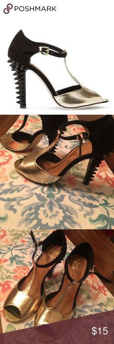 Retro Spiked Gold Heels Very Retro with some Sass! Worn a few times but still in good condition. All spikes are present and unbroken. beau ashe Shoes Heels