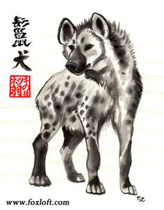 A spotted hyena in the Sumi-e ink style. The kanji (calligraphy text) on the left says hyena. The red seal stamp below it is the namestamp of the artist, Foxfeather. Sumi-E, or black ink painting, is a style of asian brush painting emphasizing simplicity of linework, exploring the nature of grey and black washes on white paper. Deceptively simple looking, sumi artwork is much more complex than it appears - taking a complex image or shape and expressing it in serene, suggested lines. I love…