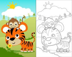 Vector cartoon illustration with cute animals on nature background, coloring book or page. Pixar, Master Bedroom Layout, Phineas Y Ferb, Nature Vector, Vector Photo, Funny Cartoons, Wedding Thank You, Royalty Free Photos, Coloring Books