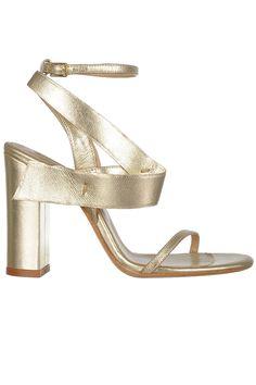 Sandale cu toc gros piele aurie Shoes, Fashion, Moda, Zapatos, Shoes Outlet, Fashion Styles, Shoe, Footwear, Fashion Illustrations