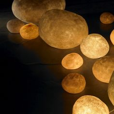 [Felt inspiration to do with x-mas lights] Andre Cazenave: Luminous Stones Ambient Rock Lights Rock Lamp, Glow In Dark Paint, Outdoor Garden Lighting, Indirect Lighting, Moon Rock, Diy Garden Decor, Garden Ideas, Beautiful Lights, Lights