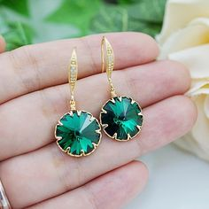 Emerald Swarovski Rivoli Earrings - Earrings Nation