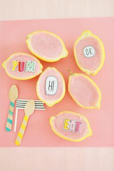frozen lemon bowls with strawberry frozen yogurt
