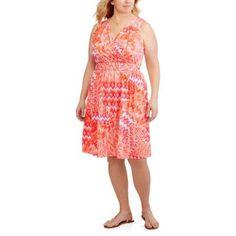 Faded Glory Women's Plus Braided Waist Flip Flop Dress, Orange