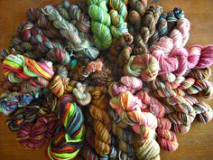 ♥pile of my spindle spun yarn♥