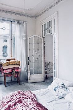 Vintage Bedroom vintage inspired bedroom in barcelona home featured in architectural digest españa. / sfgirlbybay - there's not much that doesn't inspire me about this beautiful barcelona home featured recently in architectural digest españa. Bedroom Door Design, Bedroom Doors, Shabby Bedroom, Diy Bedroom, Shabby Chic Homes, Shabby Chic Decor, Rustic Decor, Rustic Wood, Vintage Inspired Bedroom