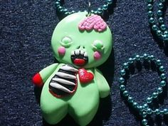 Polymer Clay Zombie Gingerbread Man Necklace
