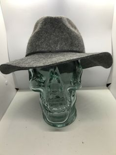 049b52e765c Details about Women s Heather Gray 100% Wool Wide Brim Floppy Fedora Hat  Sm Md EUC. eBay