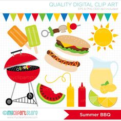 Summer BBQ / Barbeque Clip Art / Digital Clipart by MyClipArtStore, $5.00