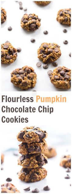 These flourless Pumpkin Chocolate Chip Cookies are healthier, gluten free, crisp on the outside, soft inside, delicious and super easy to make! This is my favourite cookies for fall.
