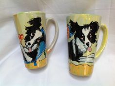 Coffee mugs hand painted BORDER COLLIE signed by Debby Carman Faux Paw Productions by FauxPawProductions on Etsy