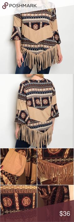 STUNNING PLUS SIZE TOP 🦄⚡SALE --NO OFFERS Beige and Navy Southwest top w fringe. Bell sleeves. 95% poly 5% spandex. 1X Bust 23 pit to pit shoulders 16.5 Length 35 w fringe. 2X Bust 24 3/4 Shoulders 17 Length 36 w fringe. 3X Bust 26.5 Shoulders 18.5 Length 36 w fringe. Beautiful top NWOT Tops Tunics