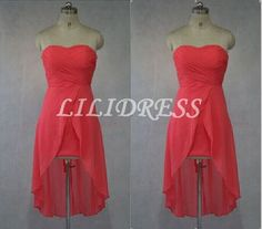 Coral bridesmaid dress chiffon bridesmaid dress by LILIDRESS, $89.00