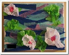 Make Monet's watergarden masterpiece with tissue paper! Very fun, easy for kids of all ages, beautiful results, and a great intro to a wonderful artist!