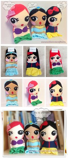 How to make Socks Doll Princesses step by step tutorial instruction.