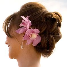 updo with flower