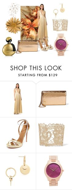 """""""Sparkle in Gold!!"""" by stylediva20 on Polyvore featuring Alice + Olivia, Jimmy Choo, Aquazzura, Valentino, Amber Sceats, Michael Kors and Avon"""