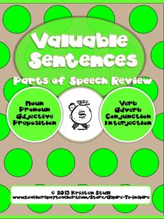 This challenging hands-on review activity requires students to put their knowledge of the eight parts of speech, addition, and currency to the test! Using a currency key that shows a corresponding value for each part of speech, students must identify the parts of speech for all words within a sentence, then determine the total value of the sentence. As a final step, students will use currency manipulatives to assemble the correct combination of coins to represent the value of the sentence.