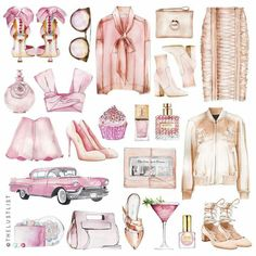 Girly Stuff For Decoupage Illustration Mode, Watercolor Illustration, Illustrations, Perfect Pink, Pretty In Pink, Arte Fashion, Fashion Design, Glamour Moda, Grafik Design