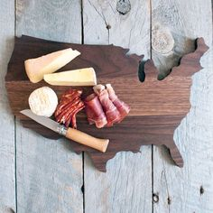 http://www.pinterest.com/parocker/ AHeirloom: Walnut USA Shaped Cutting Board #MarthaStewartAmericanMade
