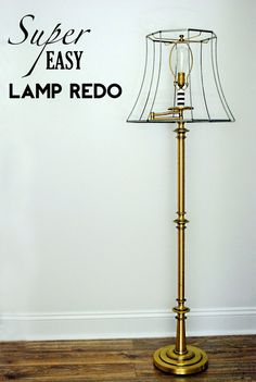 Life as a Thrifter: SUPER Easy Lamp Redo.  Stripped an old lampshade and painted top of lamp base.