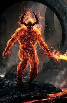 Concept art for Surtur in Thor Ragnarok. The director Taika Waititi came with the idea of seeing the skeleton through the fire. Marvel And Dc Characters, Marvel Villains, Comic Book Characters, Marvel Comics Art, Marvel Vs, Superhero Makeup, Fire Demon, Spiderman, The Mighty Thor