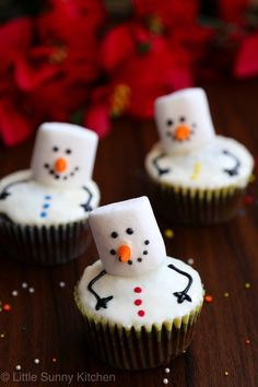 Marshmallow Snowman Cupcakes More