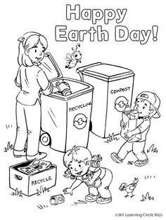 Free Earth Day recycling coloring page. http://readerbee.com