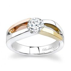 Barkev's Tri Color Solitaire Ring - 7079LW