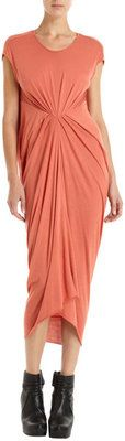 RICK OWENS LILIES ORANGE GATHERED FRONT DRAPE BACK DRESS