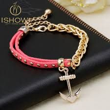 df1a68472df6 New gold chain Anchor bracelet leather bracelets pulsera ancla hot charm  bracelet men pulseras mujer man jewelry bracciali uomo