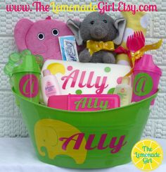Personalized Elephant Jungle Baby Shower Gift by TheLemonadeGirl, $45.00