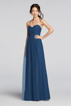 Ethereal tulle makes for a dreamy wedding party. This strapless bridesmaid dress features a removable waistband and knotted sweetheart neckline that radiates with subtle pleating. The flowy skirt moves beautifully.  Polyester  Back zipper; fully lined  Dry clean  Imported