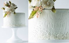 white woodgrain cake textured with lace and beading by Lina Veber Cake