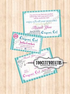 Buy 3 Consultant digital download - business card, back order postcard & thank you bag tag - Origami owl inspired  via Etsy