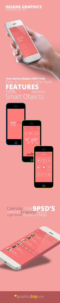 Another awesome Mobile UI PSD with 9 screens from GraphicsBay.com designers. You will find 9 PSD ( Calendar, Chat, Dashboard, Friends, Load, Login, Weather and Map ) optimized for retina, with smart objects for images and Photoshop vector shapes.<br>