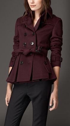 Deep claret Wool Cashmere Trench Jacket - Image 1