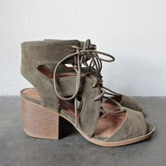 lace-up cutout heeled sandal - khaki - shophearts - 1