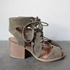 lace-up cutout heeled sandal - khaki - shophearts - 1
