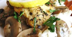 Ingredients 1 tablespoon olive oil 6 skinless, boneless chicken breast halves 1 lemon cup butter 3 cups fresh sliced mushrooms 2 tablespoons all-purpose flour cup chicken broth, or more as … Mushroom Sauce, Mushroom Chicken, Lemon Chicken, Baked Chicken, Boneless Chicken, Cracker Chicken, Stuffed Chicken, Roasted Chicken, Healthy Chicken