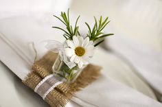 Rustic table setting - hessian, organza ribbon + rosemary & daisy in miniature jam -  #wedding.  Styling by Cristina Colli